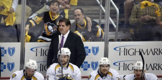 The Latest: Pens grab 3-0 lead after 1 in Game 1 vs Preds