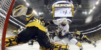 The Latest: Pens lead 3-1, but shots vanish in 2nd