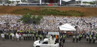 Pope preaches forgiveness in former Colombia war zone