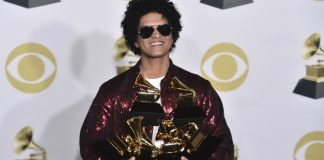 Bruno Mars crashes rap's big party at the Grammys