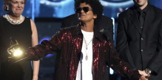 The Latest: Bruno Mars wins album of the year Grammy Award