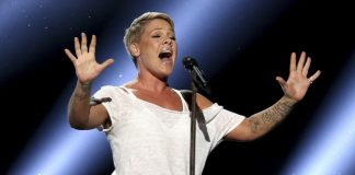 The Latest: Pink delivers down-to-Earth Grammys performance