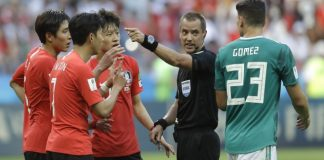 The Latest: Geiger to referee England-Colombia at World Cup