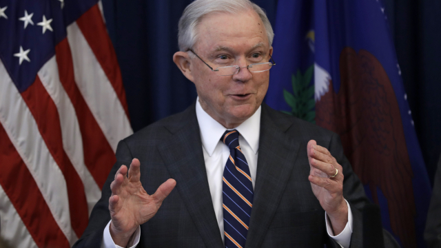 The Latest: Sessions seems to push back against Trump barb